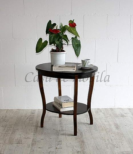 Massivholz Tisch Beistelltisch Teetisch Oval 57 Holz Massiv