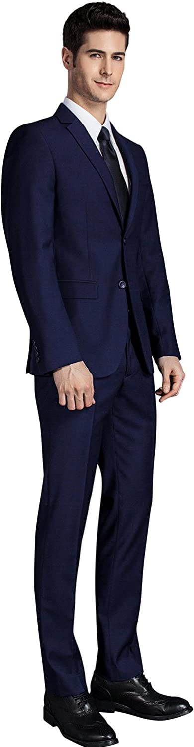 GEMENTLE Mens 2 Pieces 2 Buttons Slim Fit Formal Business Suit with Expandable-Waist Pants