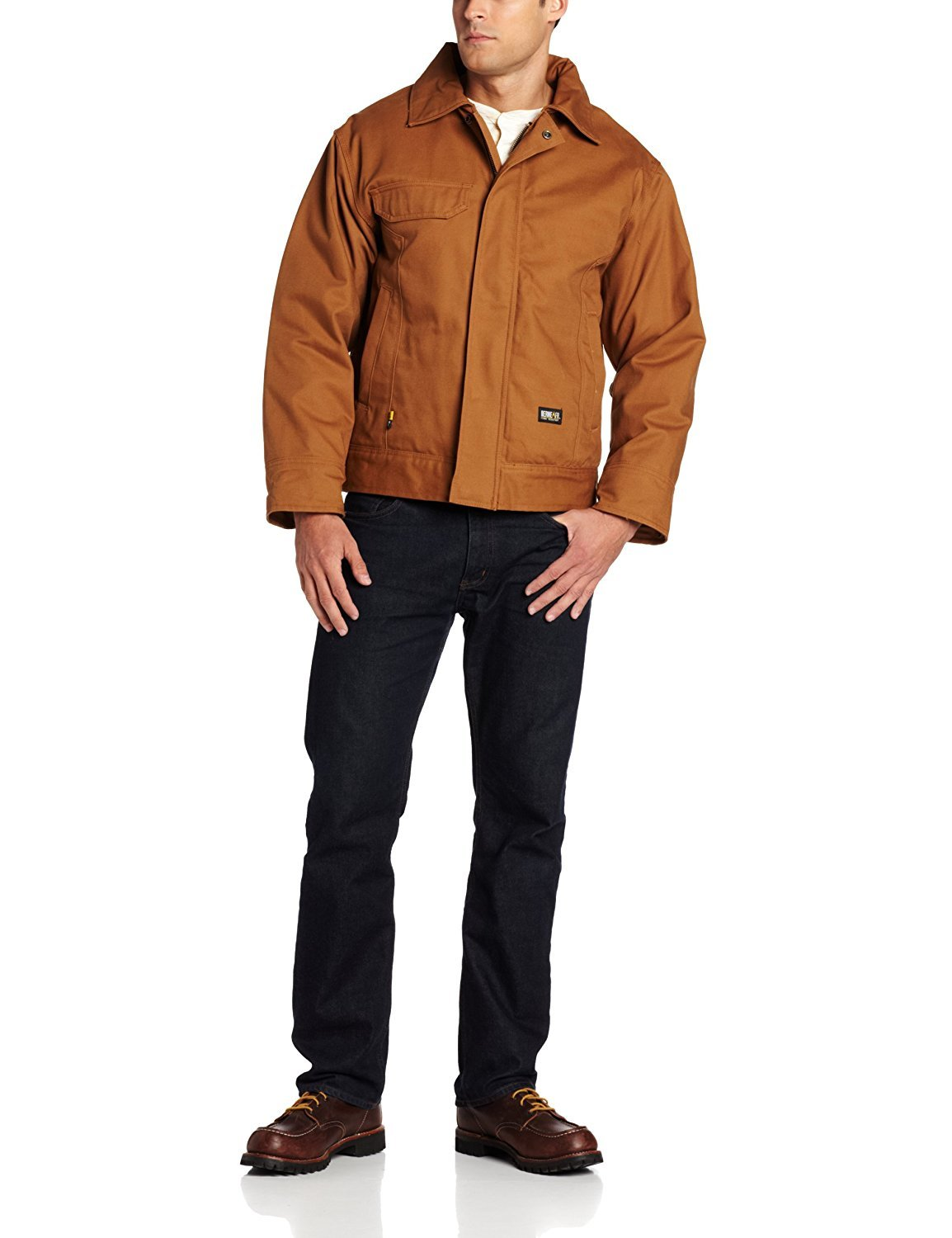 Berne Men's Big-Tall Flame Resistant Bomber Jacket Brown 4X-Large/Tall [並行輸入品] B077QG2NDL