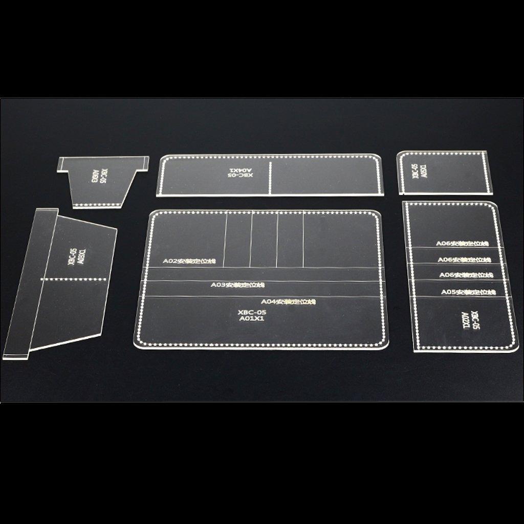 Baoblaze 6Pcs Mod/èle Pochoir DIY Cuir Artisanat en Acrylique Portefeuille Outil de DIY Craft