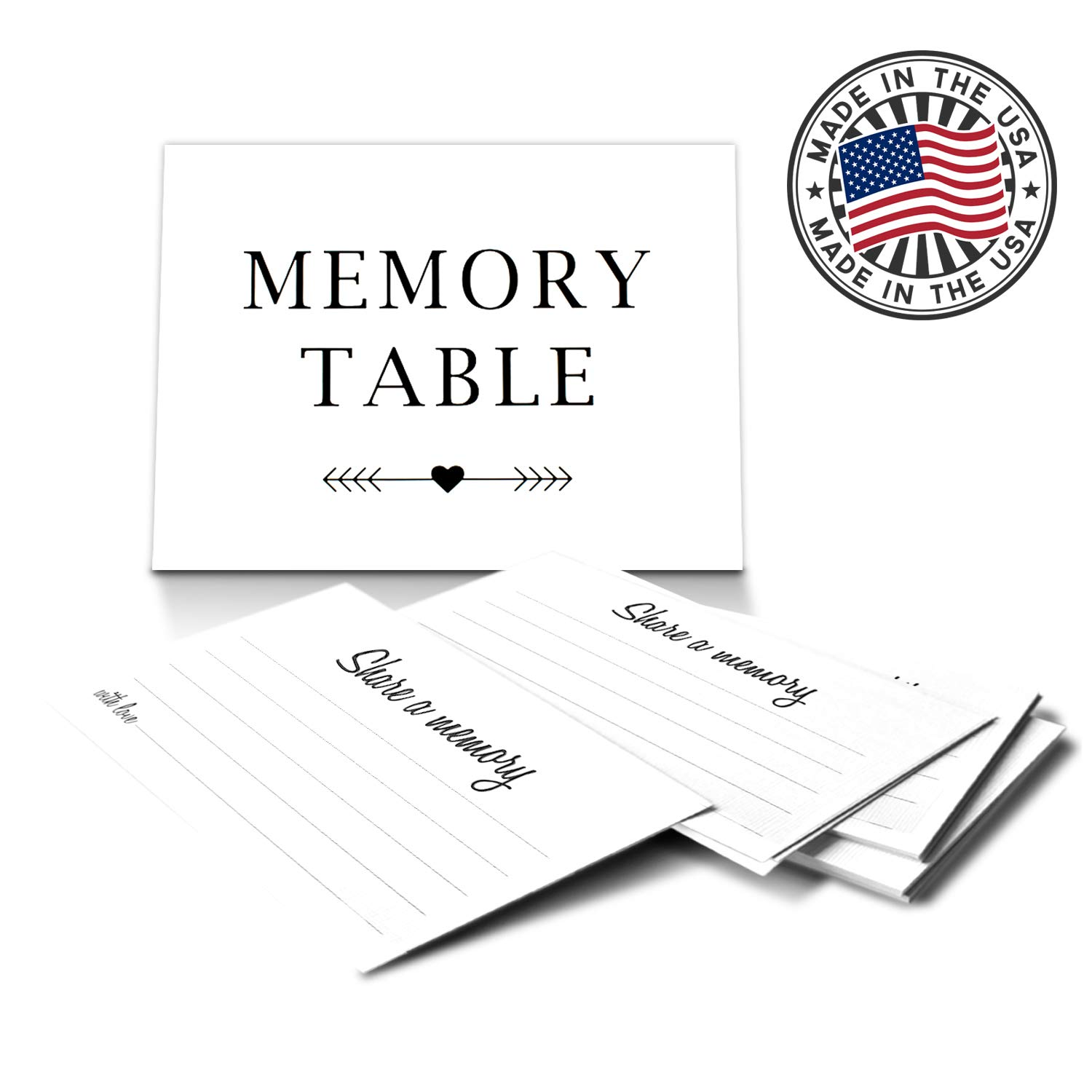 Memory Table Sign and 50 Share a Memory Cards for Funerals and Celebration of Life