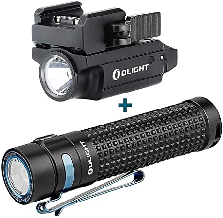 OLIGHT PL-Mini 2 Valkyrie 600 Lumens Magnetic USB Rechargeable Compact Weaponlight with Adjustable Rail, Bundled S2R II 1150 Lumens Handheld Flashlight