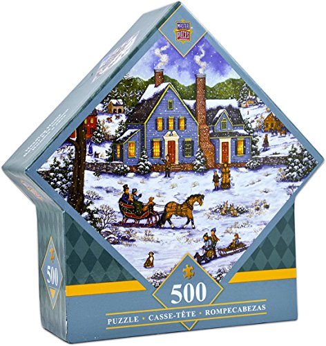 MasterPieces Heading Home - Winter Sleigh Ride 500 Piece Diamond Shaped Jigsaw Puzzle by Bonnie White (Sleigh Shape)