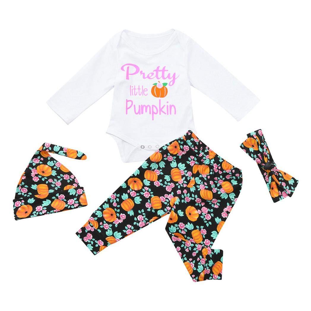 Suma-ma (6M-24M) Baby Boys Girls Pumpkins Romper Halloween Outfits Set-Long-Sleeved Letter Pumpkin Print Robe - Pants Four-Piece