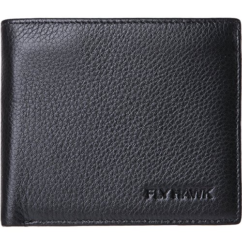 FlyHawk Best Mens Handmade Genuine Leather?Grain Design Leather,Thin/Thick Bifold Wallet Italian 100% Cowhide Style Luxury