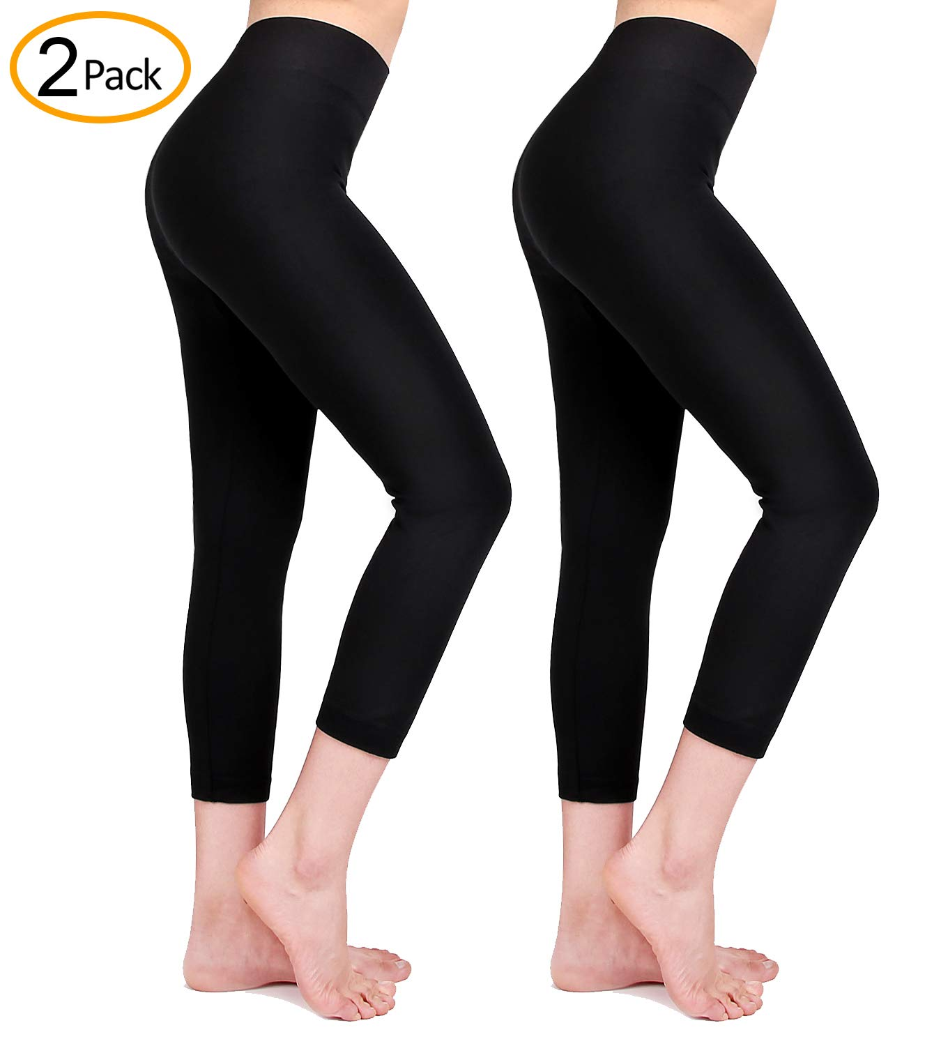 Moon Wood Extra Soft Capri Leggings for Women with High Waist, Seamless Workout Leggings -Regular and Plus Size (Black+Black, Large)