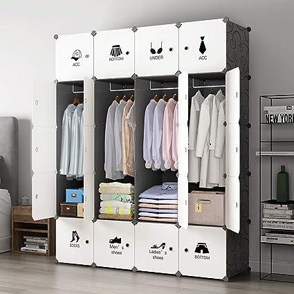 KOUSI Portable Closet Wardrobe Closet Clothes Closet Bedroom Armoire  Storage Organizer With Doors, Spacious U0026