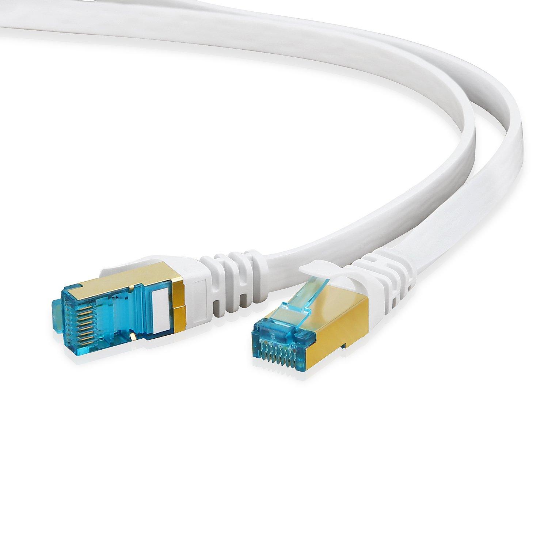 1m Rete Cavi Cat6 S-FTP Cat 6 Doppia schermatura PIMF 250MHz 4x2xAWG28 // 7 CU Rame Non Contiene alogeni Compatibile con Cat 5e // CAT6a // CAT7 1000 Mbit//s Bianco 10 Pezzi
