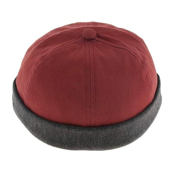 Homyl Men s Women s Fashion Street Docker Hat Brimless Skullcap Sailor Cap  Cotton Brimless Beanie Hat - Red d0d4c499139f