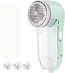 TianY Fabric Shaver, Fuzz Balls Pills Bobbles Lint Remover Defuzzer with 3 Replaceable 3-Leaf Stainless Steel Blades, AC120V Plug and Play