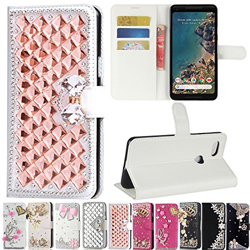 Google Pixel 2 XL Case, Best Share Manual Bling Flip Stand PU Leather Wallet Full Cover Silicone Case Card Slot for Google Pixel 2 XL, White-Rose Gold Crystal -