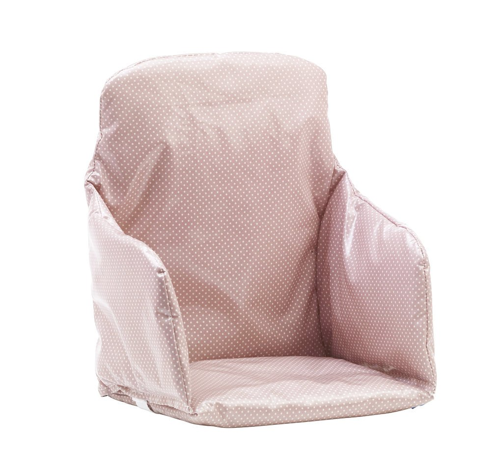 Messy Me High Chair Insert Cushion - Wipe Clean Oilcloth (Dusty Pink Dots) Messy Designs Ltd
