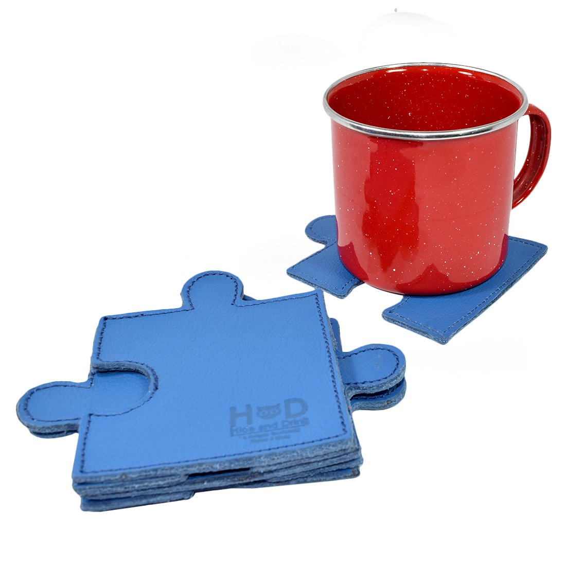 Handmade Blue Set of 6 Pieces Hide /& Drink Puzzle Leather Drink Coasters Cup Mats