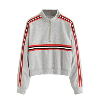 Amazon.com: Women Long Sleeve Striped Hoodies Sweatshirt Turtleneck Zipper Autumn Winter Jumper Pullover Tops Blouse: Clothing