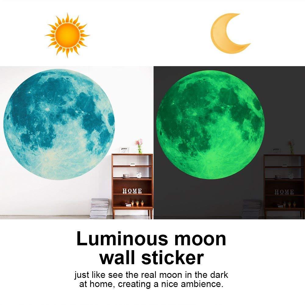 Fdit Etiqueta de Pared Luna Luminosa Pegatinas de Pared Adhesivo a Prueba de Agua Etiqueta de Pared Decoraci/ón para Hogar Dormitorio de Ni/ñas 30 cm//40 cm 40 * 40cm