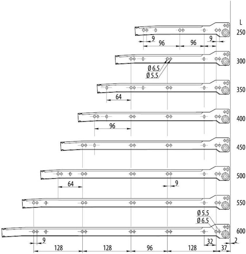 Mprofi MT/® 1 Parr SCHUBLADENSCHIENEN WEI/ß 250 mm Rollenf/ührung Schubladenauszug Teilauszug V2502
