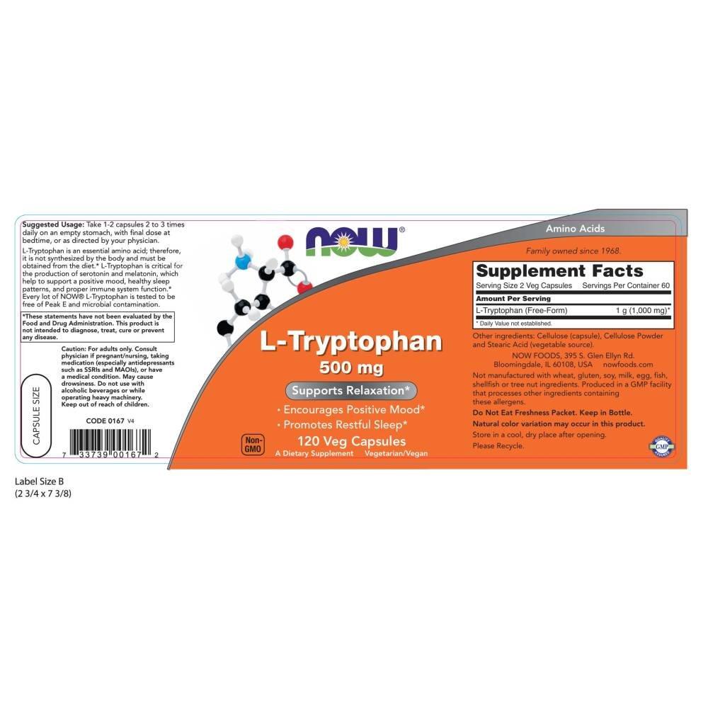 Now Foods L-Tryptophan 500mg Standard - 120 Cápsulas: Amazon.es: Salud y cuidado personal