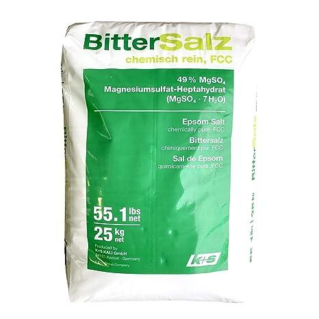 Sal de Epsom. 25 kg la bolsa. 100% natural. Grado de calidad
