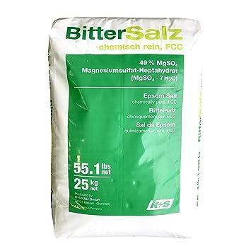 Sal de Epsom. 25 kg la bolsa. 100% natural. Grado de calidad alimentaria FCC (Food Chemical Codex). Sulfato de magnesio: Amazon.es: Jardín
