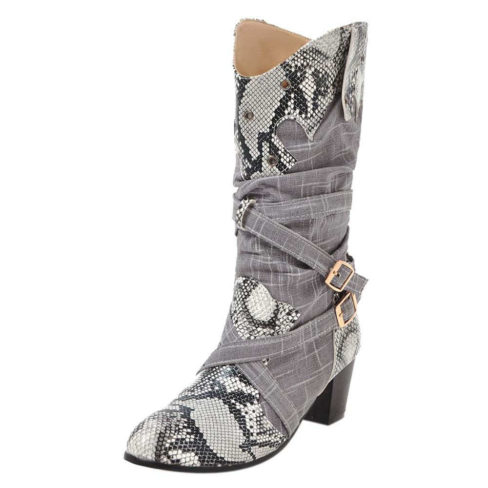 Dacawin Fashion Women Winter Boots Colorblock Sexy Snakeskin High Heels Mid Tube Boots (Gray, 37/US:6.5)