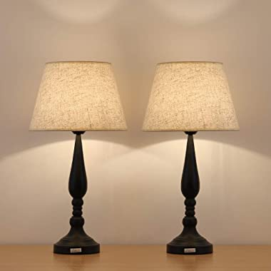 HAITRAL Modern Night Lamps Set of 2 - Contemporary Bedside Table Lamps with Line Shade, Decorative Room Modern Desk Lamps for Bedroom, Living Room, Office, Ideal Gifts
