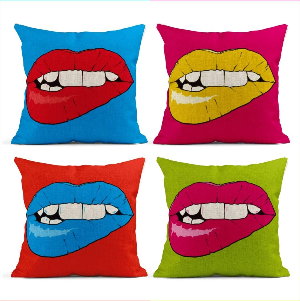 Heyqqo Set Of 4 Cushion Covers Linen Popart Lips Art Pop Funky Groovy Pattern Retro Poster Makeup Andy Pillowcases Square Soft Home Decor Design Throw Pillow Cases Sofa Bedroom 18x18 Inch Amazon Co Uk