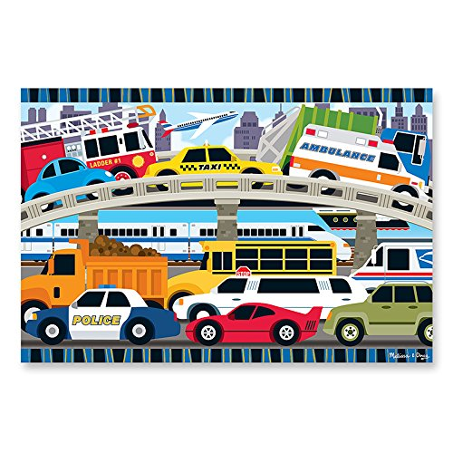 Traffic Jam Floor Puzzle Toys & Games Puzzles Lci4421 Melissa & Doug