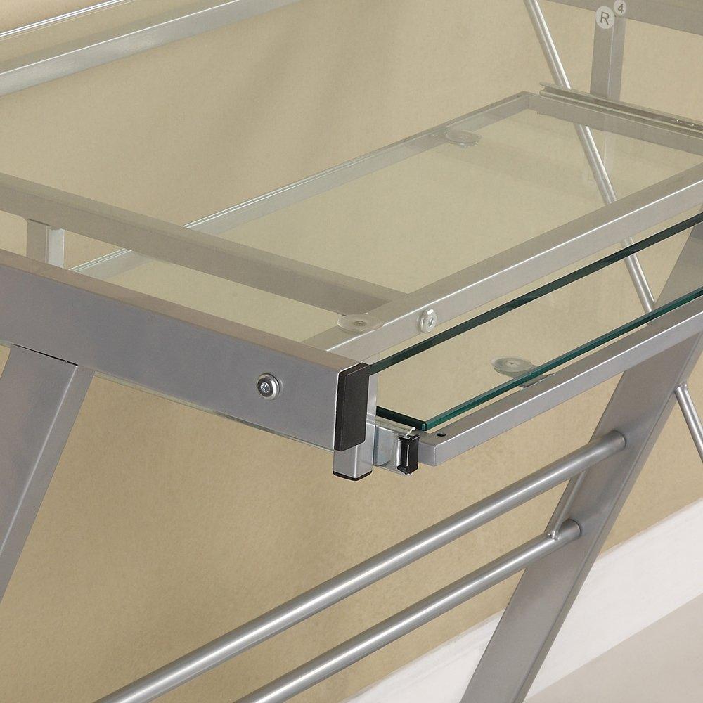 Walker Edison Furniture Metal Solo Computer Desk Glass Silver 33
