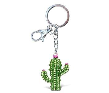 Cota mundial - verde y rosa brillante y Cactus llavero con ...