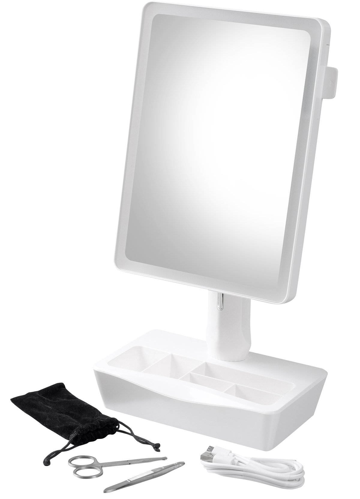 Secura Swiveling Vanity Lighted Makeup Mirror with Adjustable LED Lights, Organizer Base and 10X Slide-out Spot Mirror, Bonus Manicure scissors, tweezers and carrying pouch