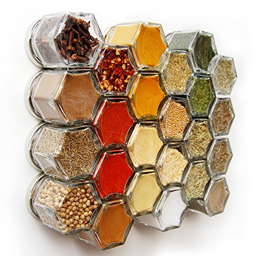 Optional Personalized Labels - Gneiss Spice Everything Spice Kit: 24 Magnetic Jars Filled with Standard Organic Spices / Hanging Magnetic Spice Rack (Small Jars, Silver Lids)