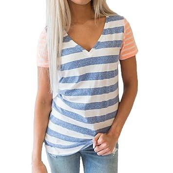 Bluse Dellin Damen Casual Nähte Gestreift Kurzarm T-Shirt Top Bluse mit  V-Ausschnitt (L, Blau) 365c4e1a1c