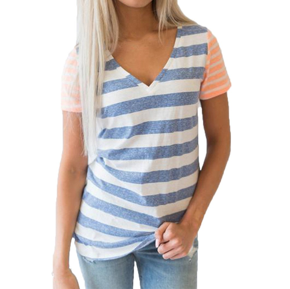 2018 Clearance!!! sfe-Women's Short Sleeve V-Neck Tops Casual Stitching Striped Summer Blouse (M, Blue)