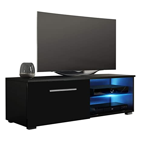 MEBLE FURNITURE & RUGS New Moon Modern TV Stand Matte Body High Gloss Doors  with 16 Color LED (Black, 40.5\