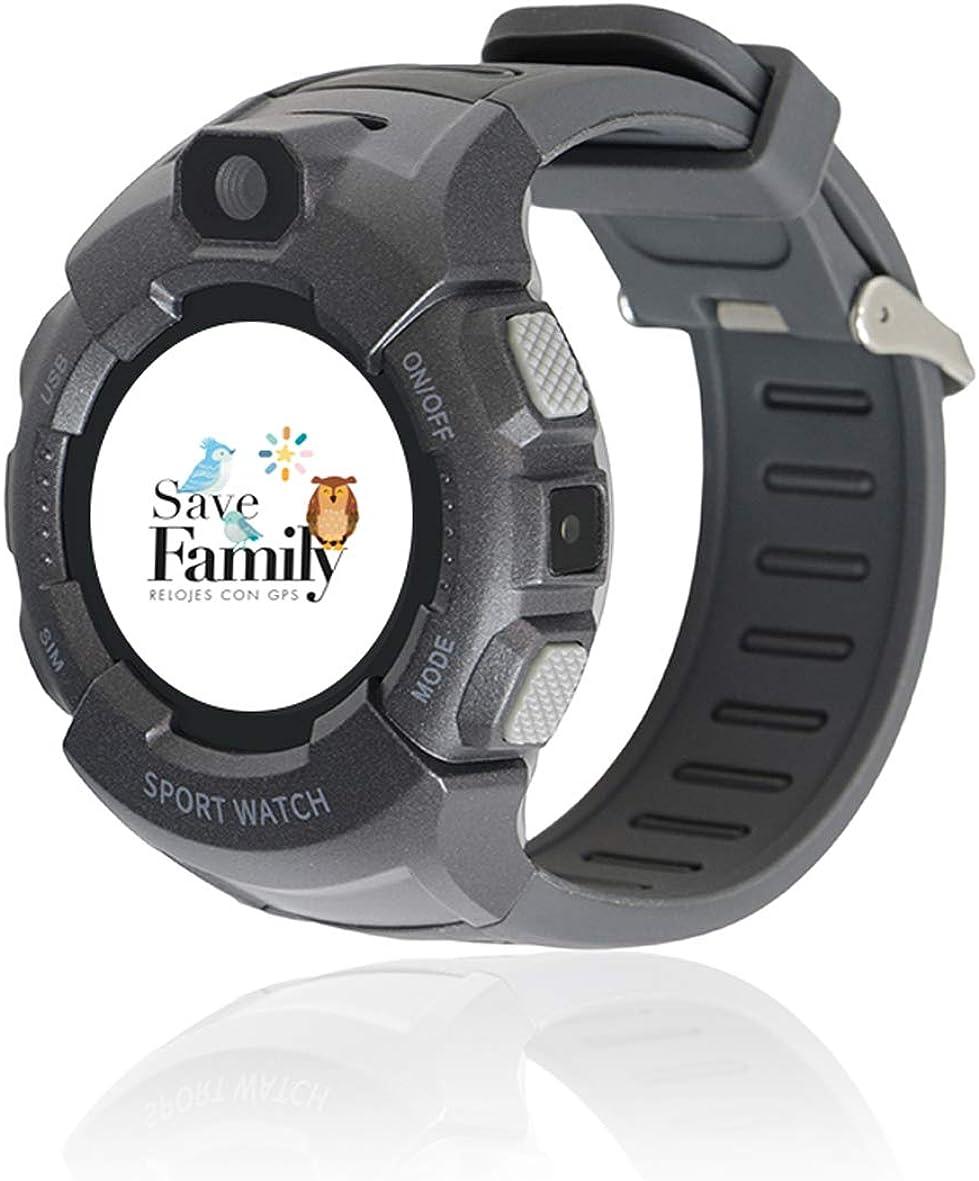 Reloj con GPS para niños Save Family Modelo Kids Sport. Smartwatch con botón SOS, Permite Llamadas y Mensajes. Resistente al Agua Ip67. Incluye Cargador