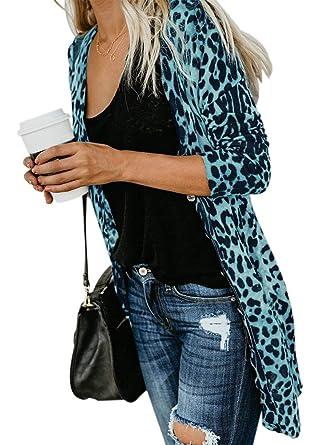 c414ca8d02f3b Womens Spring Fashion Longline Open Front Long Sleeve Maxi Cardigan Jacket  Thin Tops Blue S