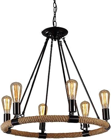 Image of Lámpara colgante de Lámpara colgante estilo cuerda de cáñamo, 6 luces Lámpara de araña industrial retro Lámpara de techo de cadena ligera de metal E27 Lámpara de estudio de enchufe Iluminación colgant