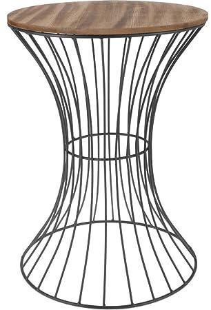 Spetebo Designer Beistelltisch Aus Metall Mit Holz Tischplatte