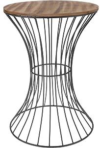 Spetebo –Mesa Auxiliar de Metal con Madera Tablero–Mesa Decorativa con Estructura de Metal Curvado, Madera/Metal, 49 cm x 35 cm