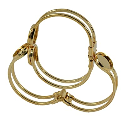 MonkeyJack 2 Pieces Cuff Bracelet Bangle 16mm Blank Round Cabochon Bezel  Settings DIY Craft