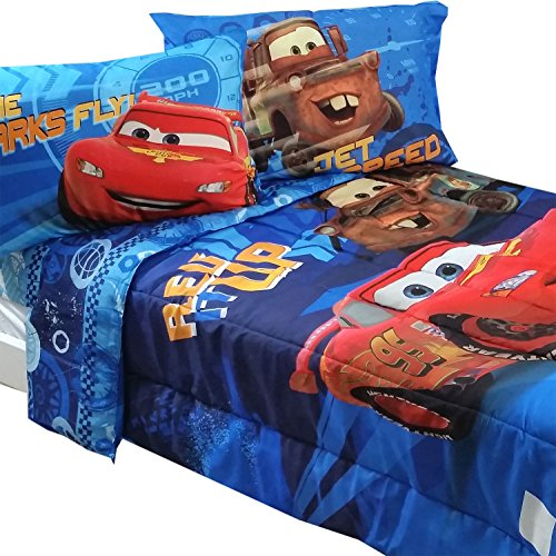 5pc Disney Cars Full Bedding Set Lightning Mcqueen City