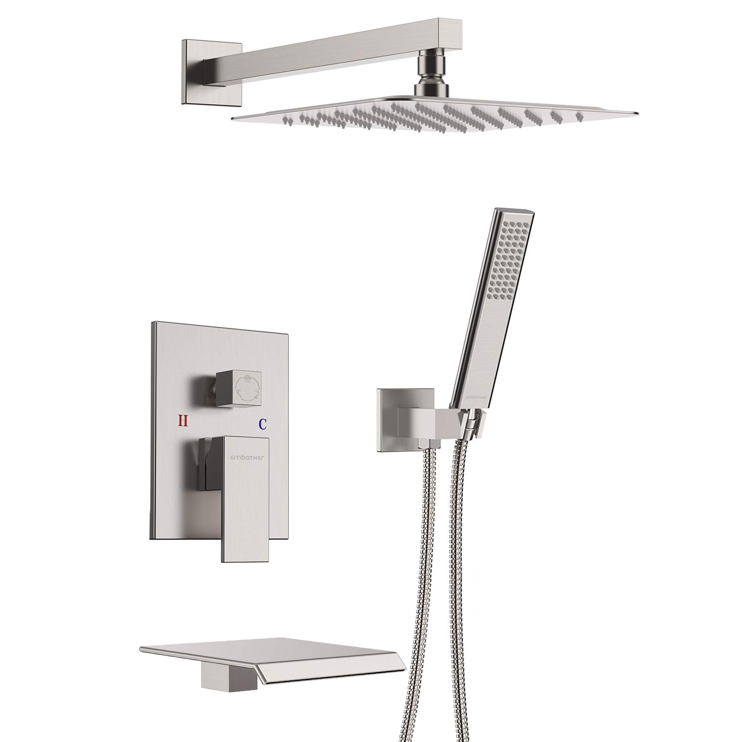 EMBATHER Shower System with Waterfall Tub Spout, Shower Faucet Set with 12'' Rain Shower Head Wall Mounted Shower Set All Metal(Contain Shower Faucet Rough-in Valve Body and Trim)
