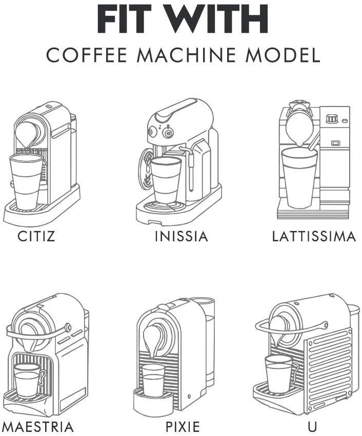6 c/ápsulas de caf/é reutilizables negras para Nespresso con cuchara de caf/é con cepillo para filtros de m/áquinas Nespresso C/ápsulas recargables Gekufa para Nespresso