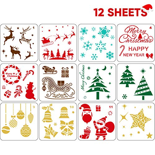 12 PCS Reusable Christmas Stencils for Painting on Wood Glass Door Car Body Journaling Scrapbook Xmas Snowflake Stencils DIY Craft Decoration 5x5 inch