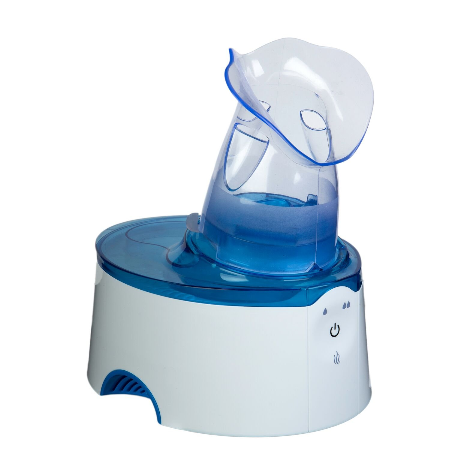 Crane USA Humidifiers - Blue White Personal Steam Inhaler & Warm Mist Humidifier - Adjustable Hot Mist Vaporizer Automatic Shut-off Sinus Relief for breathing problems Asthma Home Bedroom Kids Babies