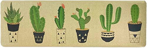 Wolala Home Natural Rubber Non-Slip Kitchen Rug Runner Cactus Comfortable Resist Fatigue Laundry Room Area Rugs Bedside Rug 18 x71 , Cactus