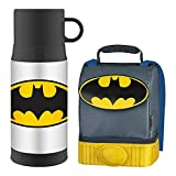 Thermos Dual Zippered Compartment Reusable Lunch Bag with Padded Carry Handle and FUNTAINER Vacuum Insulated Stainless Steel Food Jar (Batman (Black))
