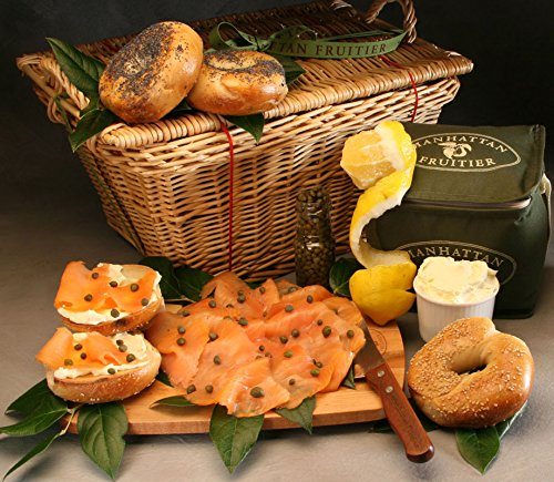 Bagel Brunch Artisanal Gift Basket Made to Order by Manhattan Fruitier with 4 Bagels (Sesame and Poppy Seeds), Scottish Smoked Salmon, Cream Cheese, Lemon, and Capers (Salmon Cheese Cream Smoked)