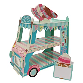Cupcake Stand 3 pisos de papel Street Stalls helado crema alimentos Carro para decoración de fiesta