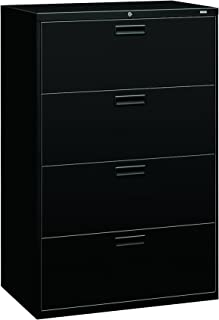 """product image for HON 4-Drawer Office Filing Cabinet - 500 Series Lateral File Cabinet, 19.25"""" D, Black (H584)"""